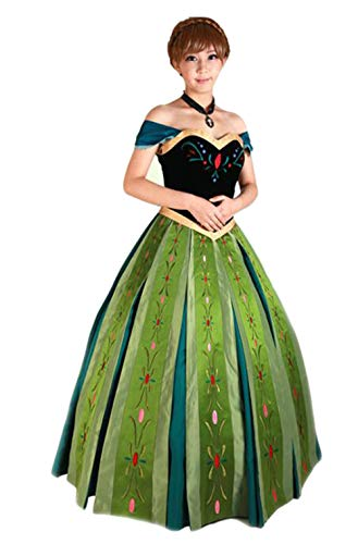 Mordarli Women's Frozen Princess Anna Dress Cosplay Costume Fancy Dress Green -