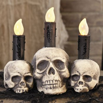 HALLOWEEN SKULL CANDLE WITH LED LIGHT UP (Haunted Night Deluxe Party Supplies)