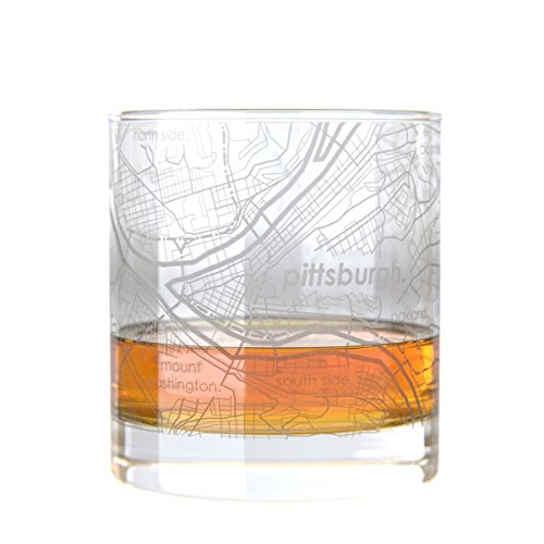Pittsburgh Steelers Rocks Glass - Uncommon Green Pittsburgh Map Rocks Etched Whiskey Glass