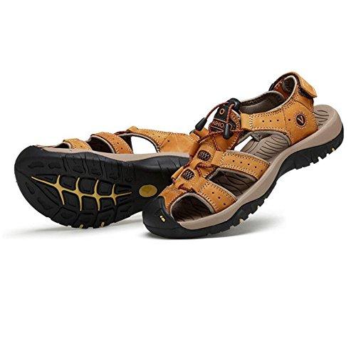 Chancletas Verano Escalada Cerrado Deportes Trekking Hombre Senderismo Yellow Cuero Para Libre Zapatos Aire Transpirable Zapatillas Cómodo Sandalias Caminar Al FxPEnwC
