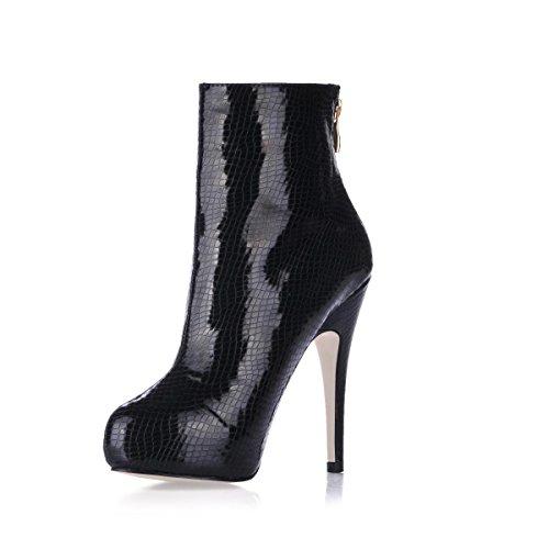 Premium Rubber da Flatform Black Suola Tacco PU Winter alto 4U® Stivaletti Best Boots Punta donna rotonda 11CM Zipper 1CM YfEFcIx