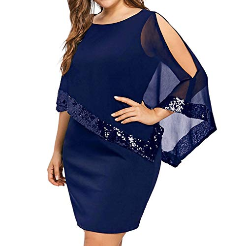 TIFENNY Women Business Plus Size Shawl Cold Shoulder Overlay Asymmetric Chiffon Strapless Sequins Dress Fashion Party Dresses Blue