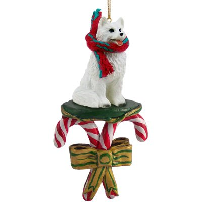 - American Eskimo Dog Candy Cane Christmas Ornament New