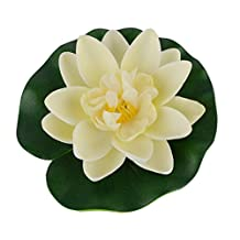 C-Pioneer 10cm Artificial Fake Lotus Water Lily Floating Flower Garden Pool Plant Ornament Home Decor (Milk White)
