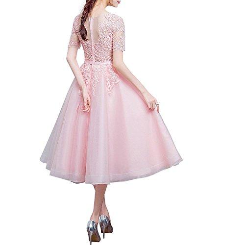 Organza Lila Abendkleider Partykleider A Rosa Rock Damen Langarm Lang Linie Brautjungfernkleider Romantisch Charmant aqTZEwx