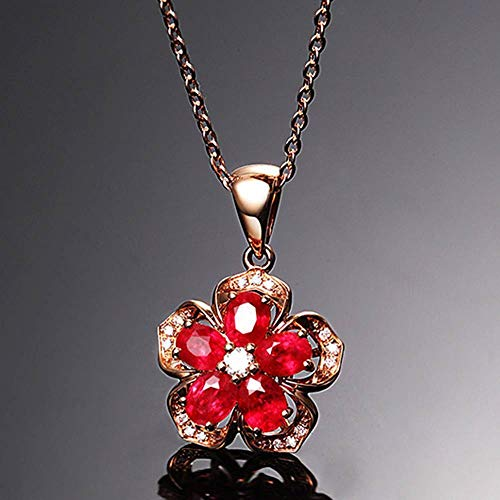 Frog Ruby Pendant - Vintage Rose Gold Chain Natural Ruby Crystal Pendant Necklace Jewelry for Women