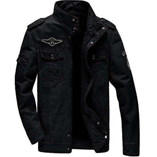 CRYSULLY Men's Multi Cargo Pocket Tactical Cotton Safari Jacket Fall Cotton Casual Jacket - Men Style Fall