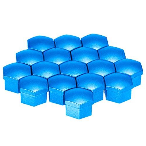 Cikuso 20pcs 17mm Car Plastic Caps Bolts Covers Nuts Alloy Wheel For Skoda Audi Mercedes BMW Color: blue