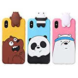 Aikeduo for 3D Cartoon Animals Cute We Bare Bears Soft Silicone Case Cover Skin 3pcs Sell for iPhone6/ 6s/6s Plus iPhone7 /7plus case (iPhone Xs MAX)