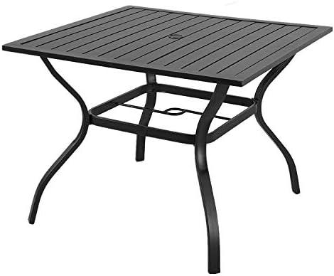 VICLLAX Outdoor Patio Metal Dining Umbrella Table
