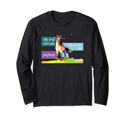 Horse Best Friend Pastures Abstract Art Horse Long Sleeve T-Shirt