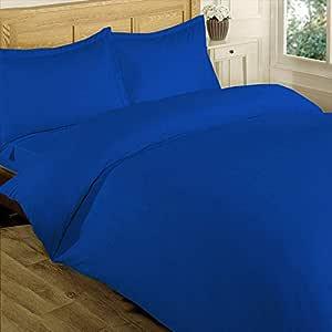 Brightlinen 4pcs Duvet Set Fitted Stripe Emperor Egyptian Blue 400 Thread Count