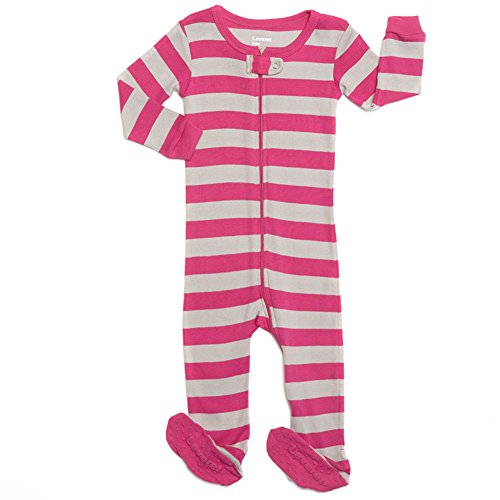 Leveret Kids Striped Baby Girls Footed Pajamas Sleeper 100% Cotton (Size 12-18 Months, Berry & Chime)