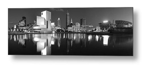 METAL PRINT Cleveland Skyline at NIGHT Black & White BW 16 inches x 48 inches Rock Roll Hall of Fame City Downtown Photographic Panorama Print Photo Picture