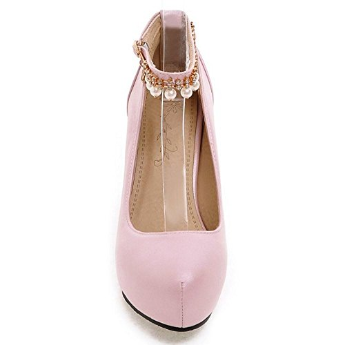 TAOFFEN Women's Ankle Strap High Heel Party Court Shoes Pink-63 gf0pEHivA