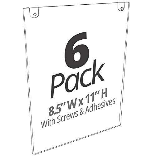 Mammoth Thick & Durable Acrylic Paper Sign Holder with Screws and Adhesive Tape for Wall Mount, for US Letter 8.5 x 11 Inches, 6 Pack