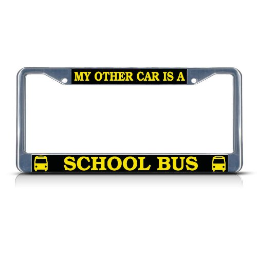 Fastasticdeals My Other Car is A School Bus License Plate Frame Tag Holder Cover (Bus License Plate)