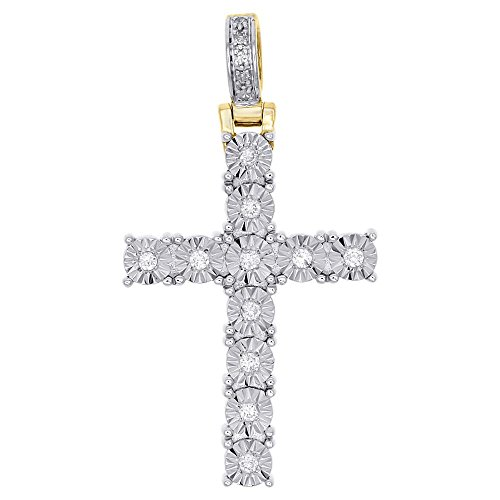OMEGA JEWELLERY 0.15 Ct Natural Diamond 10K Yellow Gold Cross Pendant Charm - 1.30