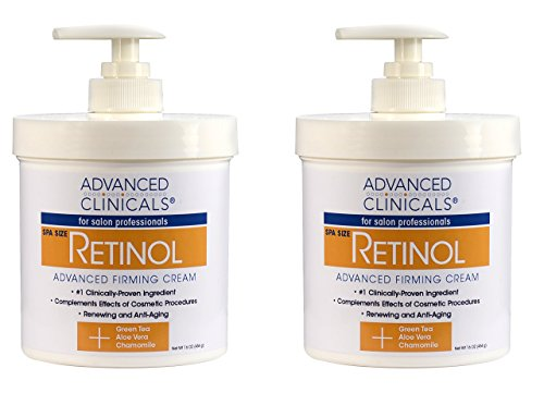 Advanced Clinicals Retinol Cream. Value Set- Two spa size 16oz bottles with pump. Best Anti-Wrinkle Cream with Retinol and Antioxidants. Ultimate firming cream for face, neck, hands, (Spa Bottles Set)