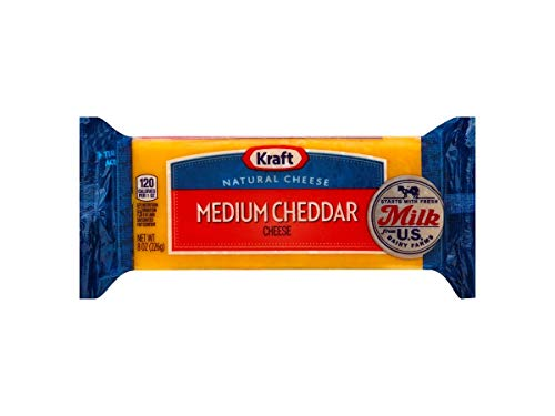 Kraft Medium Cheddar Chunk Cheese, 8 Ounce - 12 per case.