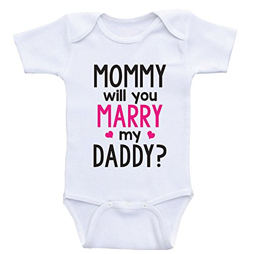 (Heart Co Designs Cute Proposal Baby Onesie Mommy Will You Marry My Daddy Baby Clothes (6mo-Short Sleeve, Hot Pink Text) )