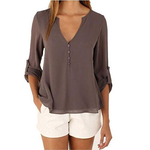 DRESHOW Women's Plus Size V-neck Front Button 3/4 Sleeve Chiffon Loose Blouse Size XXXL Khaki