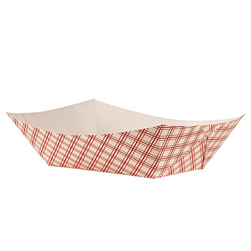 Empress EFT1000 Plaid Food Tray, 10 lb. Capacity, 12'' Height, 9'' Width, 11.125'' Length, Red (Pack of 250)