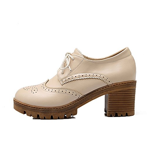 Femme Légeres Beige AllhqFashion Unie à Couleur Lacet Correct Talon Cuir PU Chaussures fndxAqvP