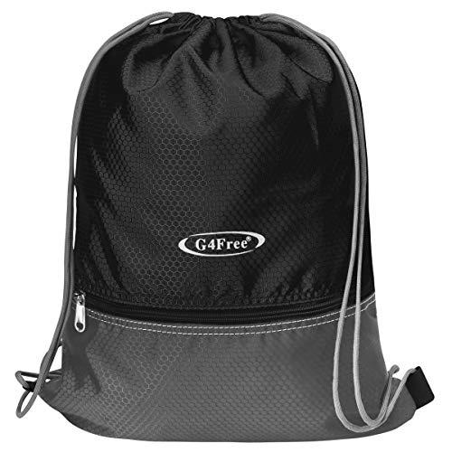 G4Free Gymbag Large Drawstring Backpack String Bag Sports Athletic Cinch Sack Gymsack Sackpack for Shopping Sport Yoga(Black) ()