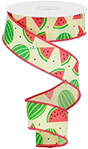 10 Yards 1.5 Watermelon Slices Canvas Ribbon Pale Pink