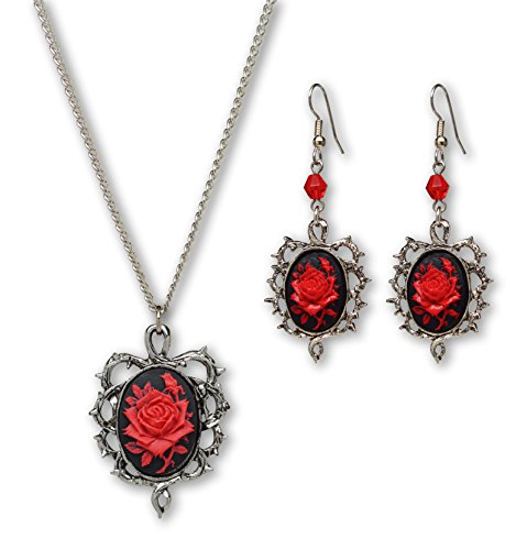 (Gothic Red Rose Cameo Surrounded by Thorns Pendant Necklace Dangle Earrings Jewelry Set)
