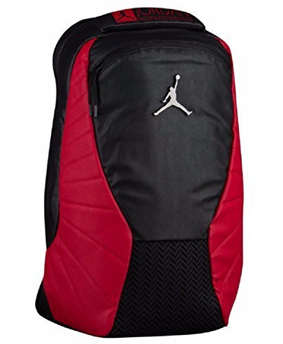 Nike Jordan Retro 12 Backpack W/ Laptop Pocket Black/Gym Red by NIKE