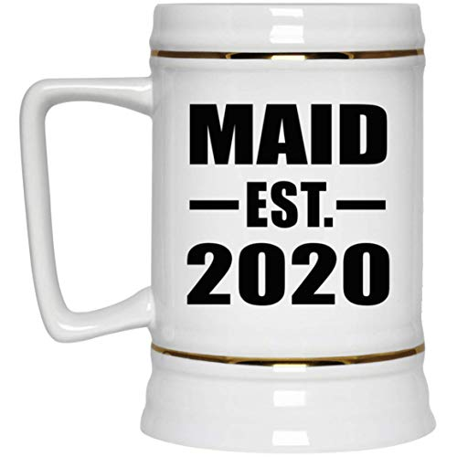 Maid Established EST. 2020-22oz Beer Stein Ceramic Bar Mug Tankard - Gift for Friend Colleague Retirement Graduation Mother's Father's Day Birthday Anniversary -