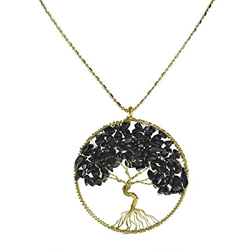 Reconstructed Black Onyx Stone Eternal Tree of Life Brass Long Necklace