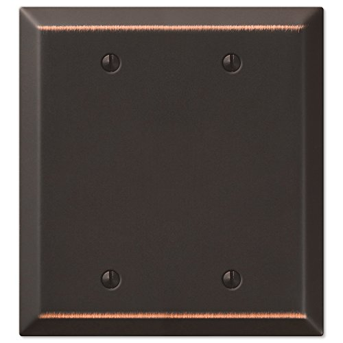 Amerelle Century Double Blank Steel Wallplate in Aged Bronze