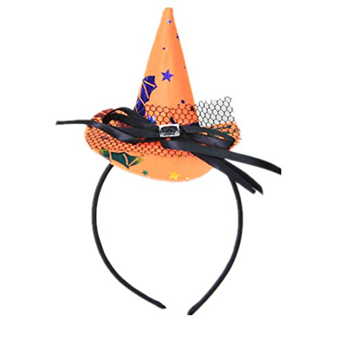 Winzik Children Halloween Headwear Mini Pointy Witch Hat Cute Hair Hoop Hairband Accessories Cosplay Party Props Decoration (3#) -
