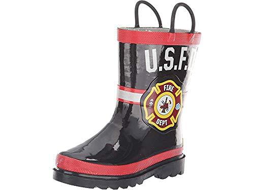 Western Chief Kids Baby Boy's U.S.F.D. Fire Dept (Toddler/Little Kid) Black 9-10 M US - Kids Chief Boots Fire