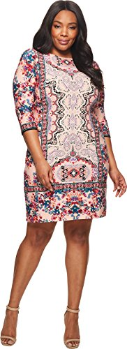 London Times Women's Flower Spray Medallion Shift Dress Peach Multi (Multi Print Jersey Dress)
