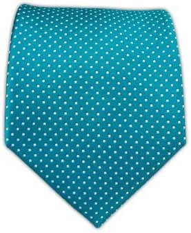 The Tie Bar 100% Woven Silk Teal Pindot Tie
