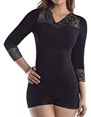 MD Women's 3/4 Long Sleeve Lace V-Neck Undershirt Bamboo Thermal Slimming Tops