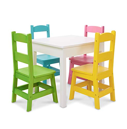 "- Melissa & Doug Kids Furniture, Wooden Table & 4 Chairs, White Table, Pastel Pink, Yellow, Green, Blue Chairs, 20.5"" H x 23.5"" W x 20"" L"