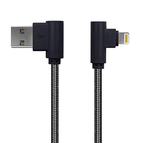 iPhone Charger MYLB Lightning Cable 90 Degree USB cable for iPhone 8 Plus ,iPhone 8,iPhone 7 Plus 7 6S Plus 6 Plus SE 5S 5C 5, iPad 2 3 4 Mini, iPad Pro Air, iPod, DJI Mavic Pro Drone, Power Bank (3m, Black)