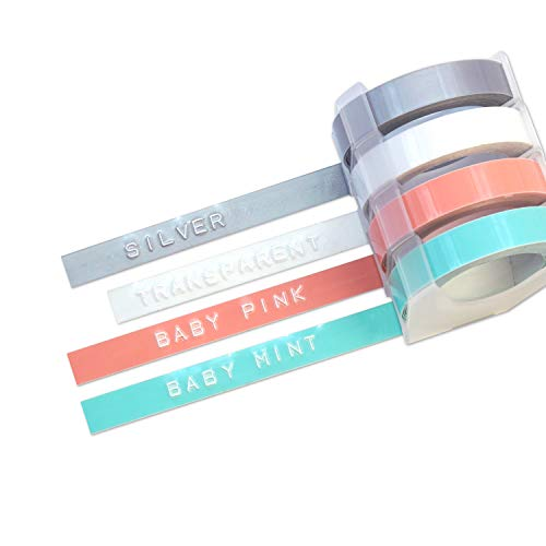 MoTEX Refill Tape For Embossing Label Maker, 4 Color Tapes