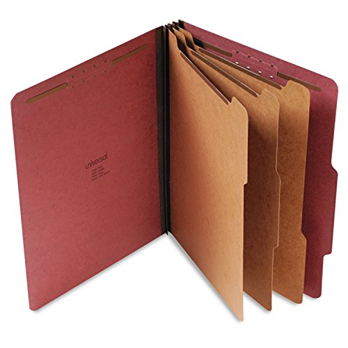 Universal 10290 Pressboard Classification Folder, Letter, Eight-Section, Red (Box of 10)