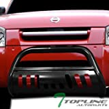Topline Autopart Black Bull Bar Brush Push Front Bumper Grill Grille Guard With Skid Plate For 01-04 Nissan Frontier ; 02-04 Xterra