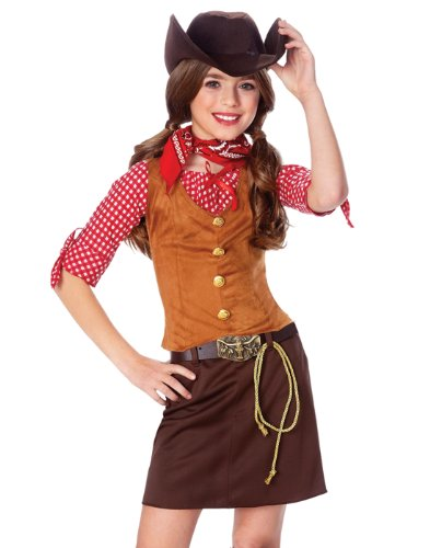 Official Costumes Girls Big Gun Slinger Costume, Medium (8-10)