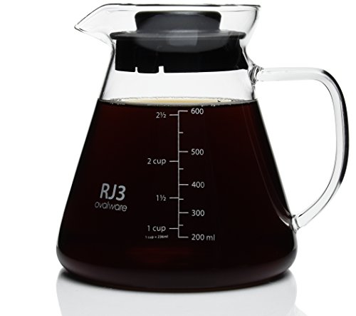 [Hand Blown 600ml Thick Range Coffee & Tea Server - Heatproof Glass Body with BPA-Free Lid for Hario V60 Ceramic and Glass Dripper, Kalita Wave, Melitta Pour Over And Other Stainless Steel Filter Stand] (45 Coffee Wave Art)