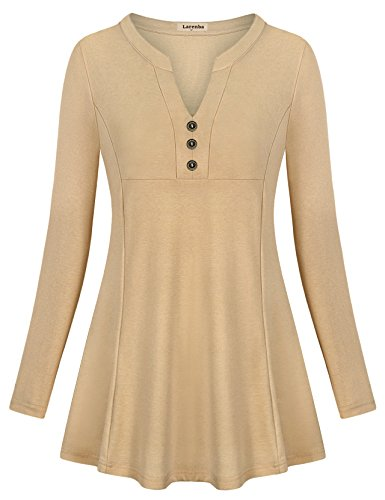 Rouched Front Top (Larenba Blouses and Tops For Work, Womens Ladies Split V Neck Top Rouched Long Sleeve A-Line Front Pleated Blouse With Buttons(Beige,X-Large))