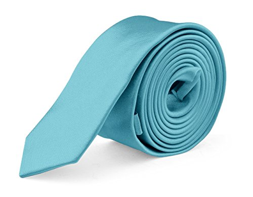 (Ties For Mens Skinny Slim Silk Finish Fashion Long Necktie - Solid Color MDR - Turquoise)