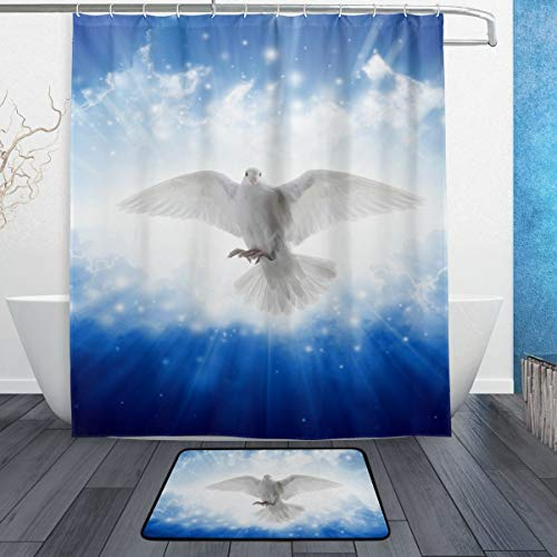 SZZWY Holy Spirit Bird Flying Sky Light Background Pattern Shower Curtain Set 3D Printing Waterproof Coated Polyester Fabric Bathroom with 12 Hooks 71 inches Indoor Floor Mat Bath Rugs 60x40cm